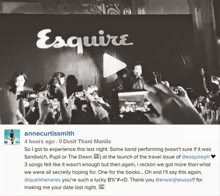 Anne Curtis was present at Eraserheads event without knowing it's an event for Eraserheads