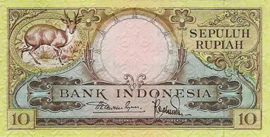 uang kuno 10 rupiah 1957 seri Hewan