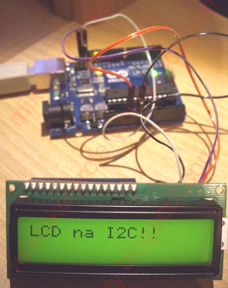 LCD podłączony do Arduino na adapterze I²C (TWI)