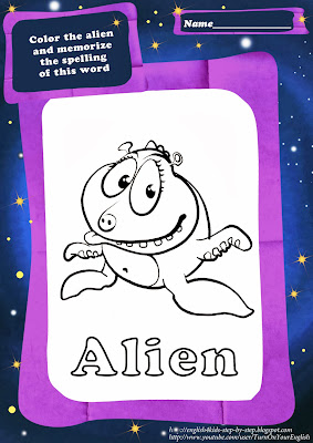 cute alien coloring image for children