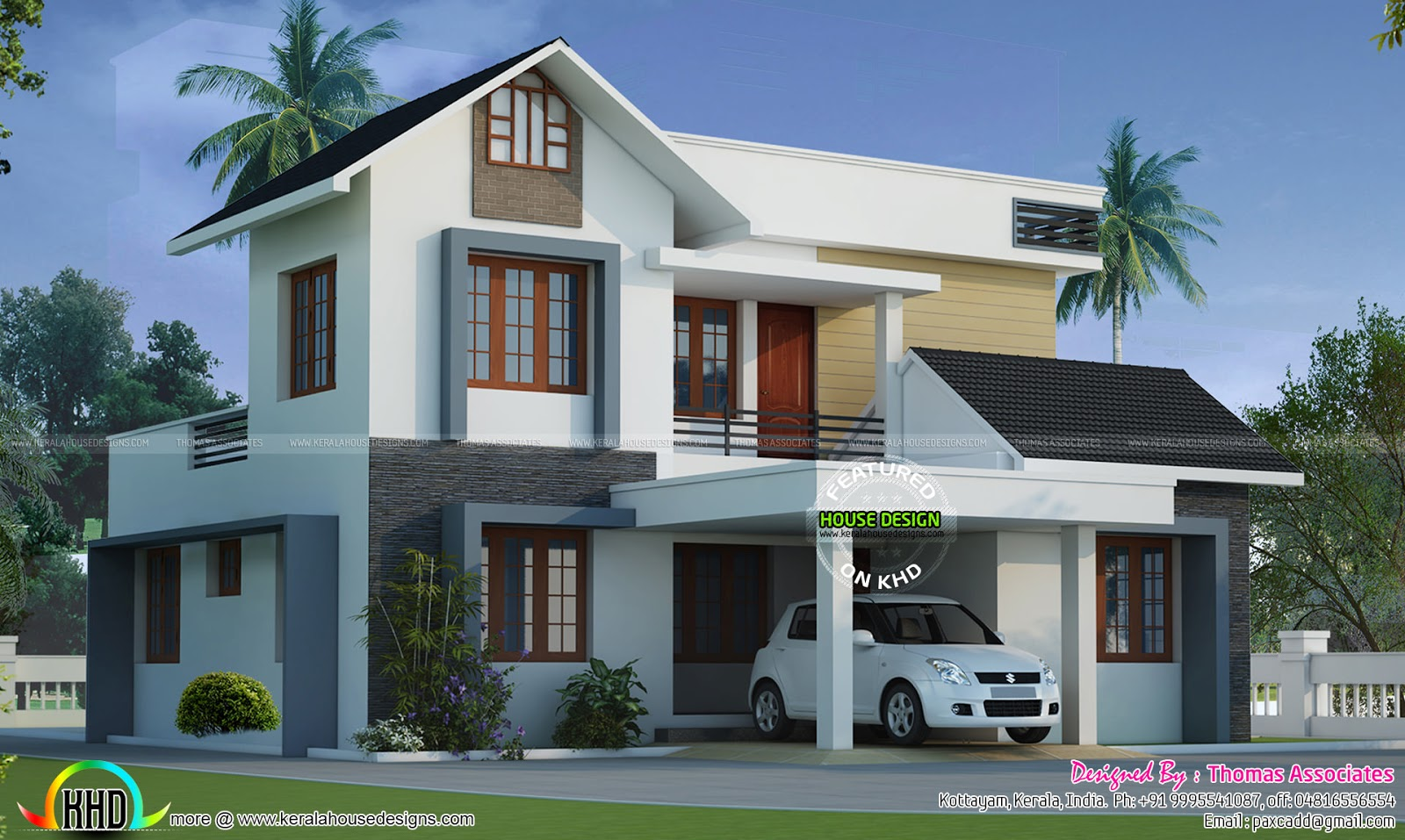 Modern style mix roof home in 1650 sq ft kerala home for Modern house plans for 1600 sq ft