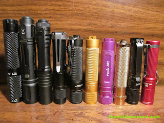 AAA flashlights, from left: DealXtreme R2, Pelican 1910, Streamlight Microstream, Fenix LD01, Thrunite Ti Firefly, Thrunite Ti, Fenix E01, Sunwayman R01A, Olight I3, Olight I3S
