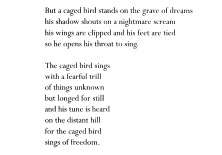 a literary analysis of the cages of maya angelou Literary analysis published in 1978, still i rise was a piece composed my maya angelou promoting the equal treatment of african americans nationwide.