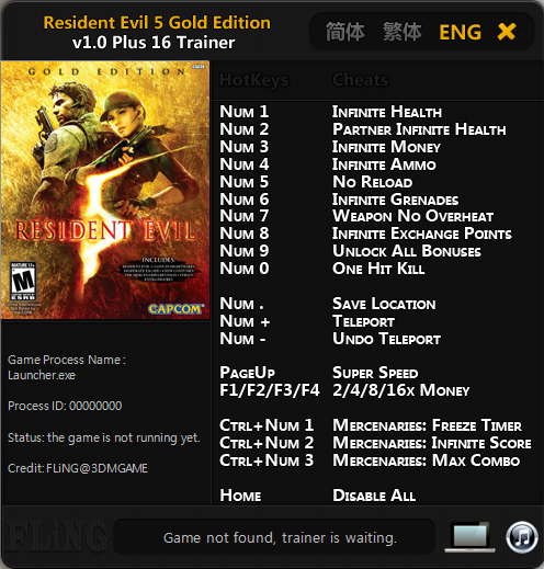 Resident Evil 5: Gold Edition Trainer ~ All Cheats Game