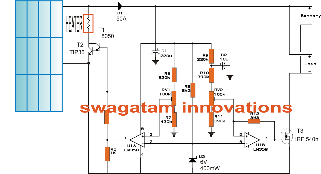 solar water heater with battery charger controller circuit, circuit diagram