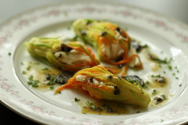 Mission: Food: Crab-Stuffed Zucchini Flowers with Black Truffles