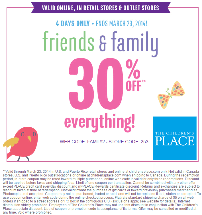 The Children's Place is committed to your kids – it shows in their clothes, but also their dedication to supporting many national and local charities that focus on making the lives of children better. Get new duds for the kiddos for less with Children's Place online coupons and coupon codes/5(16).