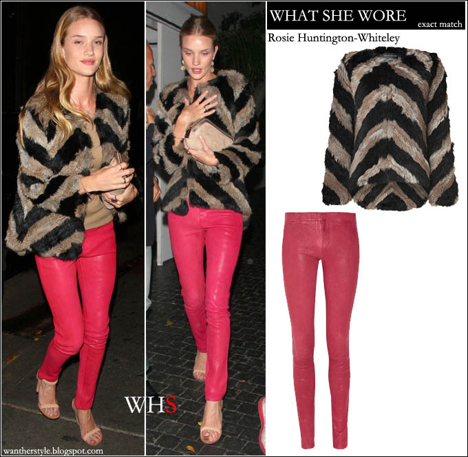 rosie huntington whiteley, chevron, jacket, fur, red, leather, jeans,