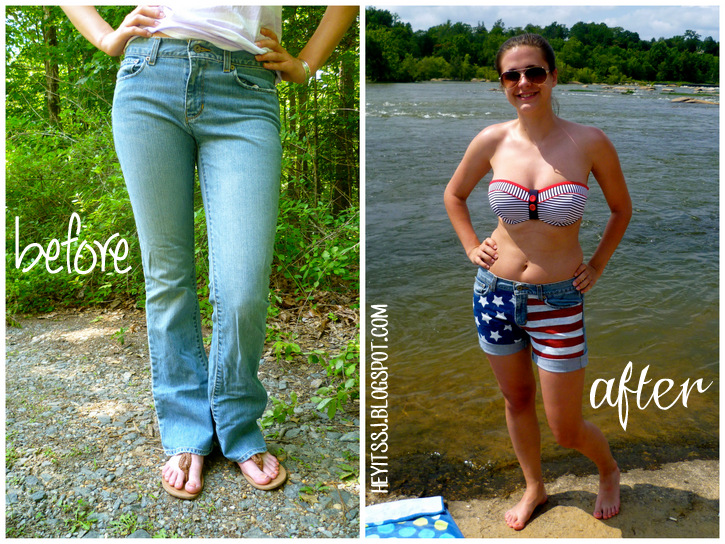 Before and After DIY American Flag Shorts
