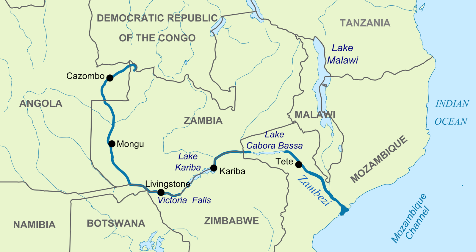 Where is zambezi river located on a map the zambezi river 1 600 miles