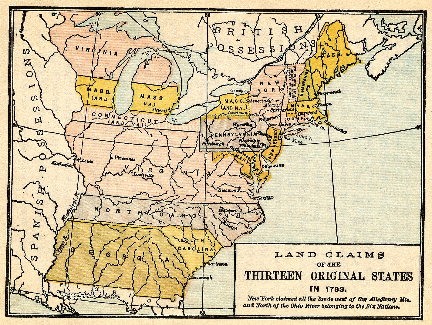 map of thirteen states which were to become united states states of virginia and carolina where the english planted their earliest colonies can be seen