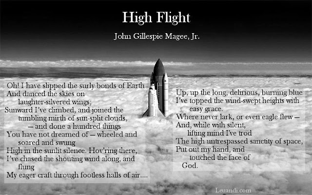 poem  High Flight, John Gillespie Magee, flight, space, airplane, astro, pilot
