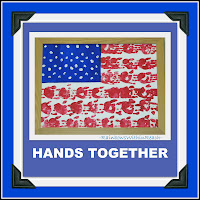 photo of: Flag of painted handprints