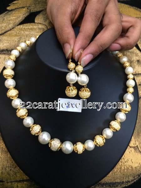 Cz Balls 1 Gram Gold Pearls Set Jewellery Designs