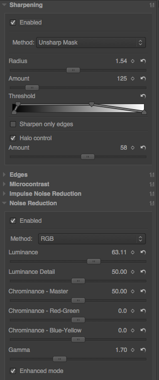 Screenshot of Sharpening and Noise Reduction pane