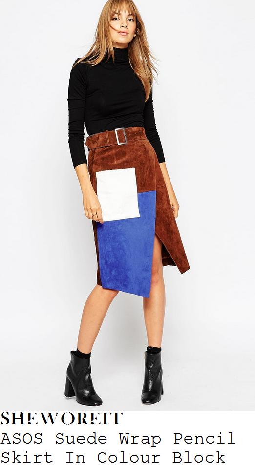 lauren-pope-brown-cobalt-blue-white-patchwork-colour-block-suede-wrap-skirt-instagram