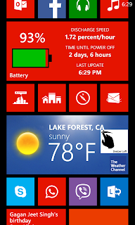Start Screen on Nokia Lumia 620