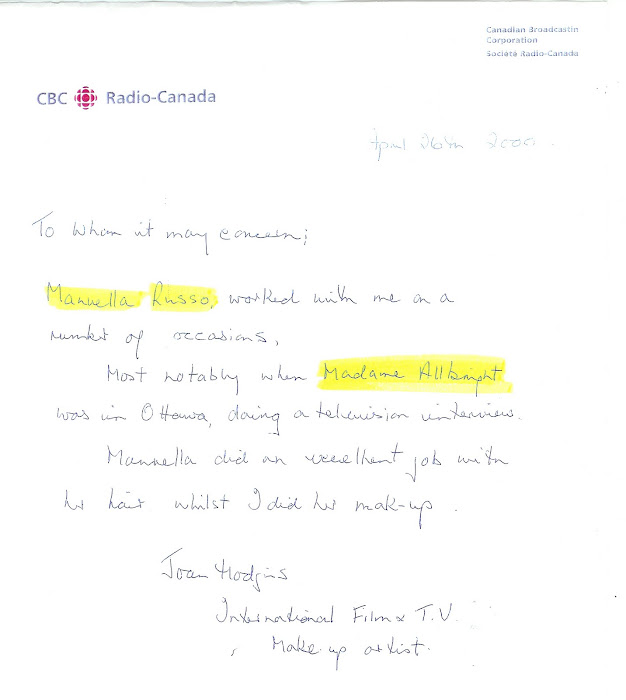 Emanuela received this letter of commendment after cutting and styling Madelaine Albright's hair
