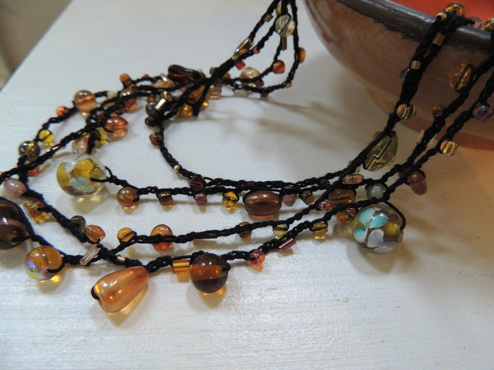 Crochet Stitches Jewelry : Susans Hippie Crochet: Glass Beads and Chain Stitch, awesome jewelry ...