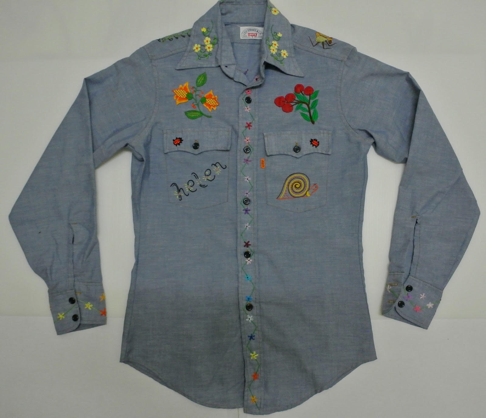 Indieclothingitems vintage levis chambray sulam shirt sold for 5 11 job shirt embroidery