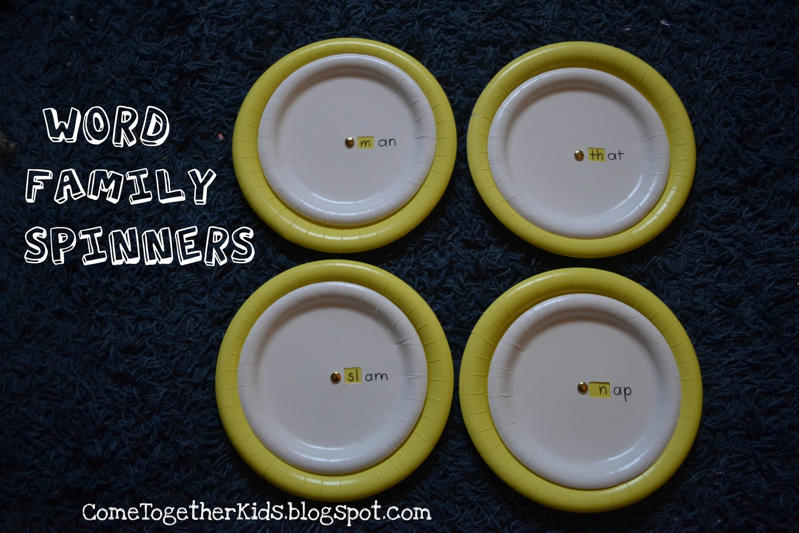These spinners have the word families -an -at -am and -ap & Come Together Kids: Word Family Spinners (from Paper Plates)