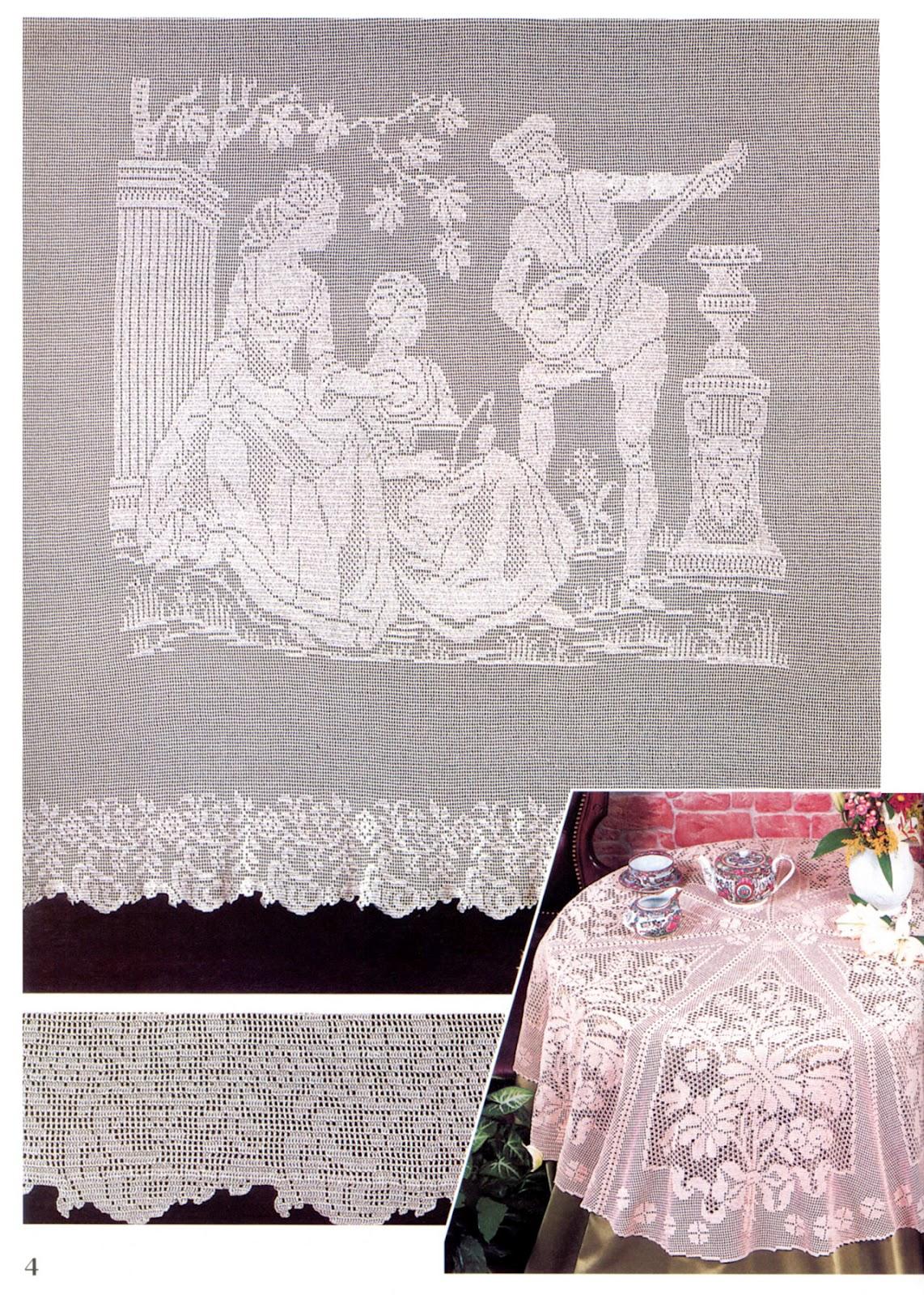 Филейное вязание занавески скатерти