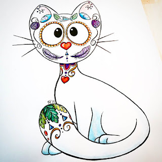 Watercolor and ink drawing of a white candy skull cat
