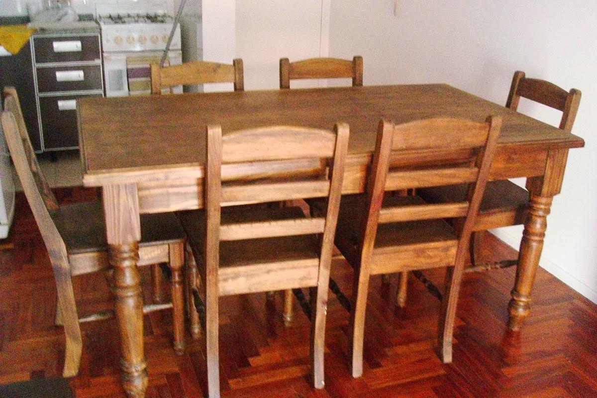 Mesa de madera de pino con 6 sillas 2500 ars me venden - Mesas rusticas de cocina ...
