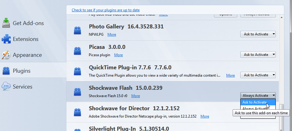 how to remove quicktime plugin from firefox