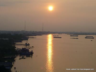 Sunrise in My Tho from Rach Mieu bridge