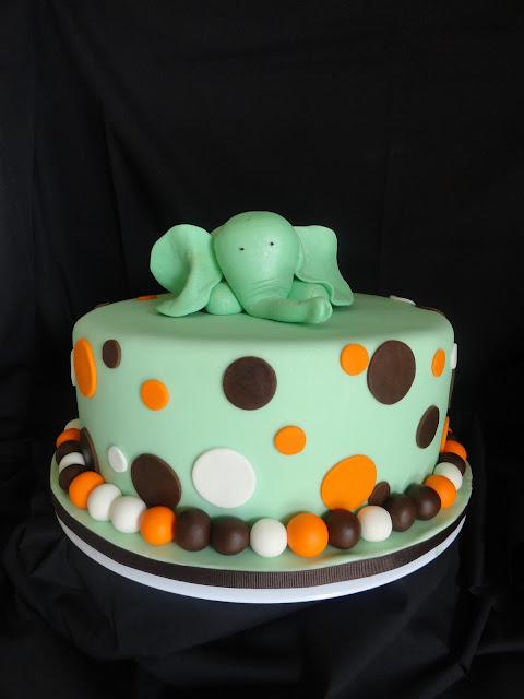 pink little cake elephant baby shower cake
