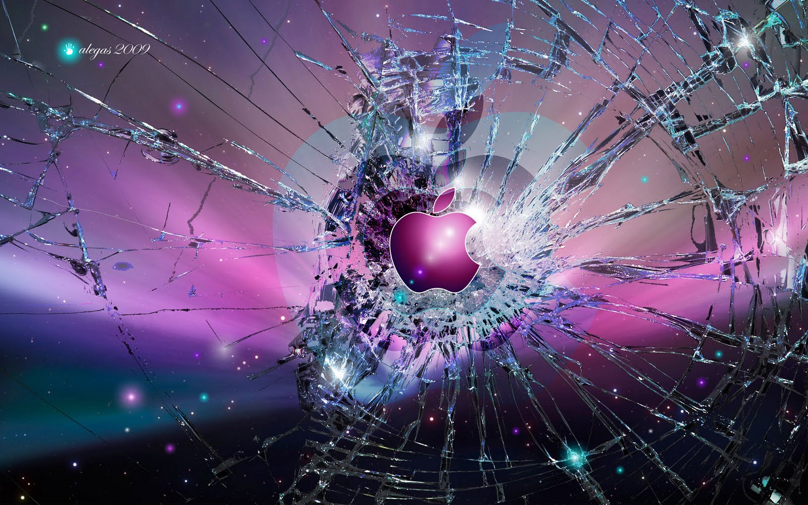 Broken Screen Wallpaper of Apple