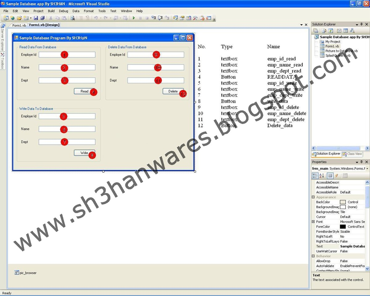 connect vb net form sql server database apps by shh n note the delete data from database option is included in sample project