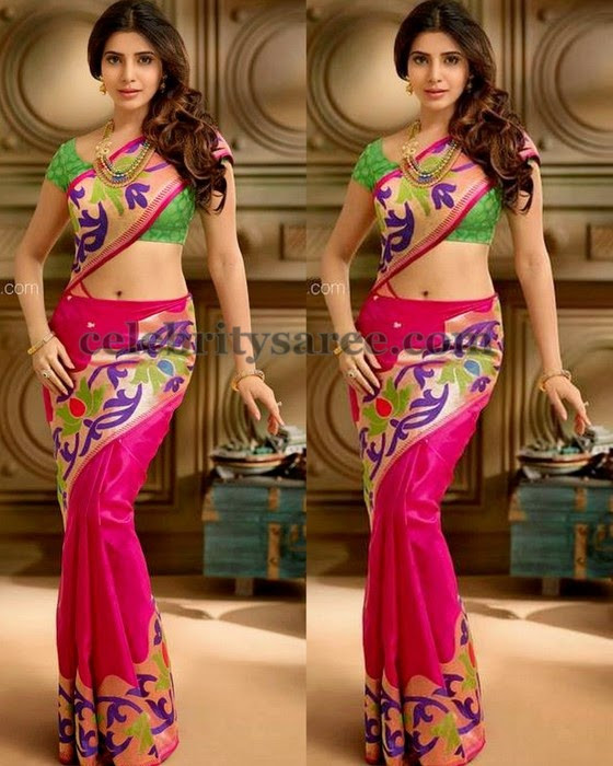 Samantha Pythani Floral Border Saree