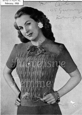 Free Vintage Knitting Patterns 1950s : The Vintage Pattern Files: 1950s Knitting - Leaf Pattern & Ribbing J...