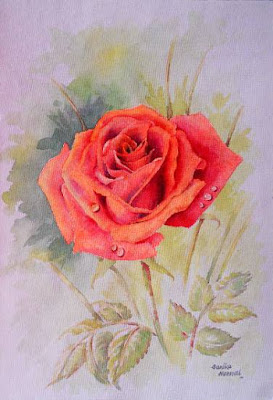 Red Rose - 3, painting by Sanika Dhanorkar (part of her portfolio on www.indiaart.com)
