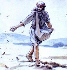 homem espalhando sementes