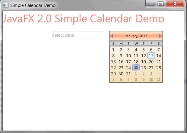 Weekly Calendar Java : Javafx widgets simple calendar for