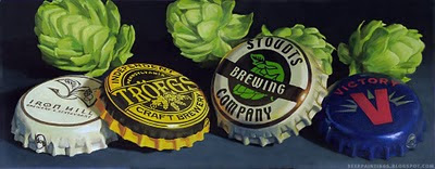 Pennsylvania crowns from Troegs, Iron Hill, Victory, and Stoudts beer painting