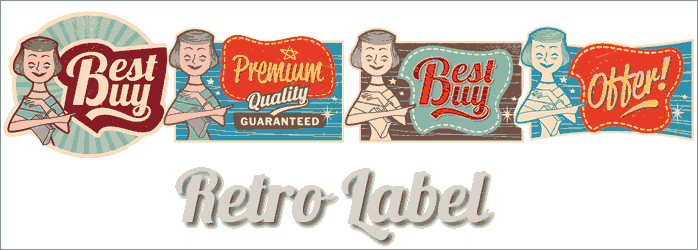 women retro label vector