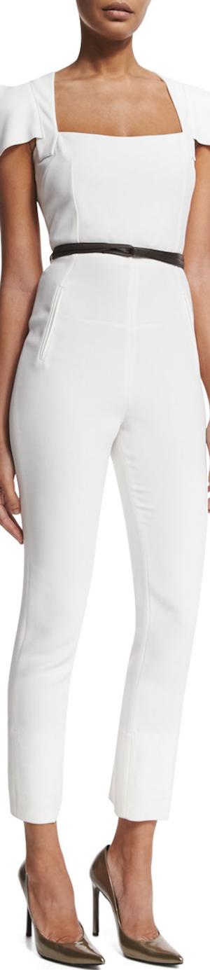 Roland Mouret Galaxy Square-Neck Jumpsuit, White