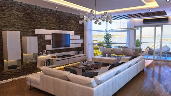 Interior Stone Wall Designs image of stone veneer panels wirtually designs Natural Stone Wall Design For Tv In Modern Living Room Design