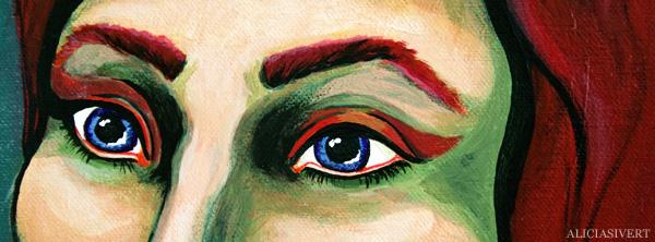 aliciasivert, alicia sivertsson, self portrait, självporträtt, mars, acryl, akryl, portrait, porträtt, tre kvinnor, three women, honky tonk women, hippie, peace, paint, sixties, 60's, sextiotal, 60-tal, eyes, ögon