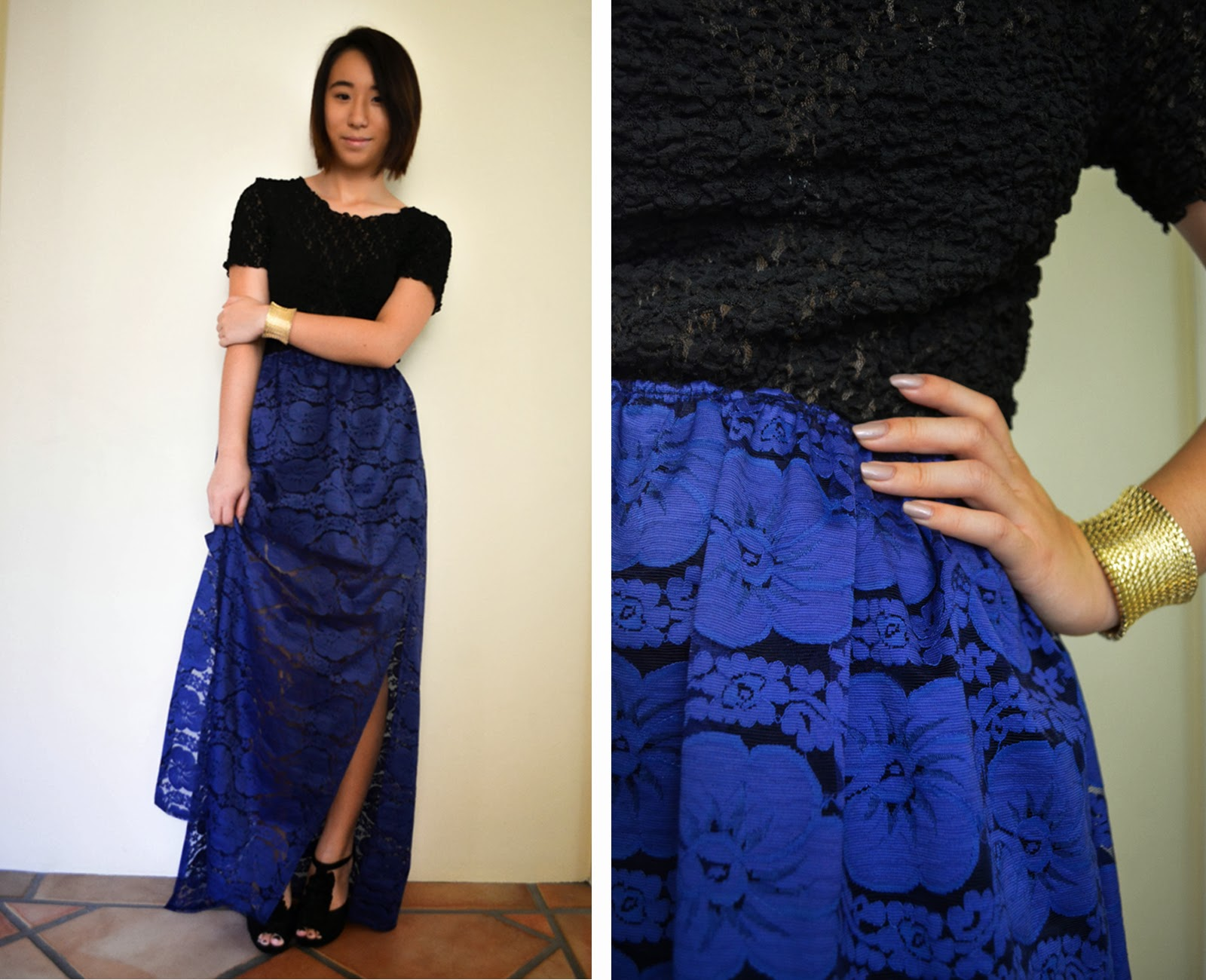 diy maxi skirt outfit style inspiration lace blue black thrifted gold cuff