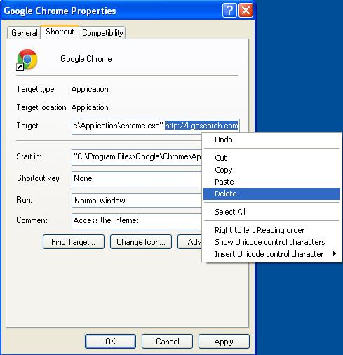 Malicious properties shortcut I-gosearch.com