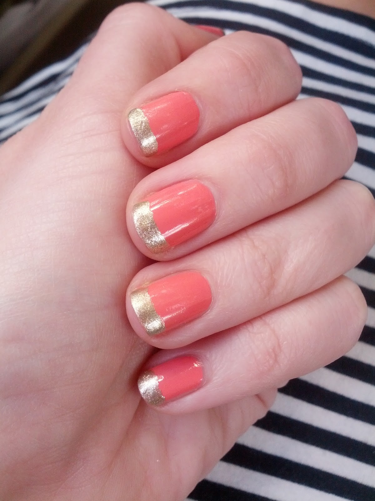 Adorable napalm spring sophistication easy coral and gold manicure im digging it the most time consuming part was the coral base coat i used flower beauty naild it in whats the daffodilly o and it takes about three izmirmasajfo