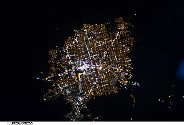Satellite photo of Las Vegas city lights as seen from space