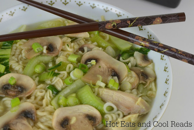 Quick and easy soup recipe that will warm you up on a cold day! Perfect for weeknights or lunch! Chicken, Bok Choy and Mushroom Ramen Soup Recipe from Hot Eats and Cool Reads