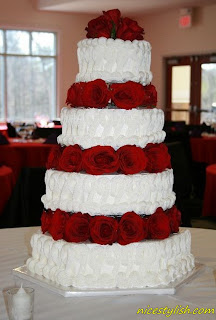 red and white tier wedding cake
