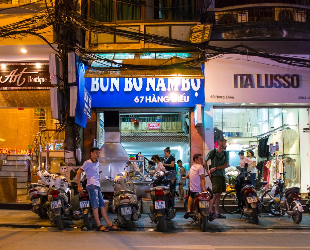 street food in hanoi vietnam bun bo nam bo